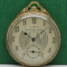 1900's ART DECO CORGEMONT 18K SOLID GOLD ENAMEL MANUAL WIND POCKET WATCH