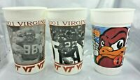 3 Virginia Tech HOKIES Plastic Cup Game Day Souvenir Cups Lee Suggs Andre Davis