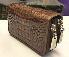 GENUINE CROCODILE ALLIGATOR SKIN LEATHER KEYCHAINS COIN BAGS WOMENS BROWN WALLET