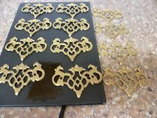 12 x FRENCH GENUINE ANTIQUE, ORNATE FRETTED BRASS ESCUTCHEONS,. KEY ESCUTCHEONS