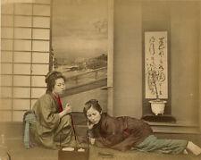 Photo Albuminé Japon Japan Femme Fumeur d'Opium Vers 1870/80