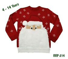 Kids Boys Girls Novelty Christmas Xmas Jumper Santa Father Knit Sweater Red Gift