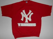 Vintage Rawlings Red Yankees NY Short Sleeve Sweatshirt Large Never Worn 1998