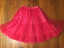 Tulle Skirt Ball Gown Dress MESH ROCKABILLY Burlesque TUTU Hot Pink Satin XS