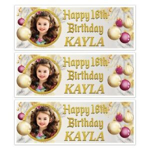 PERSONALISED GOLDEN CHRISTMAS DECORATIONS PHOTO BIRTHDAY BANNER WALL DECORATIONS
