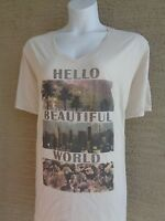 New Just My Size Cotton Blend  V Neck Tee Shirt Beige Gold Glitzy Graphic 3X