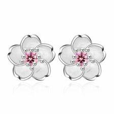 Hot Silver Crystal Cherry Blossoms Flower Ear Stud Earrings For Women Jewelry