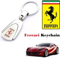 FERRARI Car Logo Keychain Metal Reflective Chrome Car Keyring Keyfob Key Chain.
