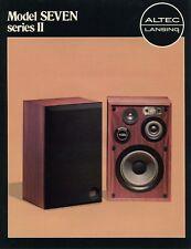 Altec Lansing Model Seven Series II Original Brochure
