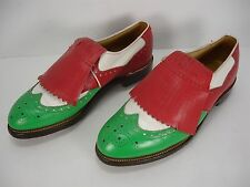 VTG BOSTONIAN MULTI-COLOR LACE UP WINGTIP BROGUE KILTIE GOLF SHOES MEN'S 8.5 C