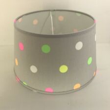 Lampenschirm rund grau Punkte bunt Du25/Do20/H15 E27 Stoff Chintz Tischlampe
