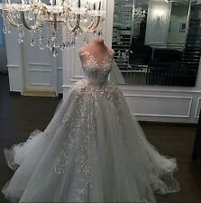 Tulle Applique A Line Luxury Wedding Dress Custom Made Sleeveless Bridal Gown