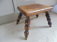 Small vintage oak milking stool, 4 turned legs, chamfered edge, footstool bench