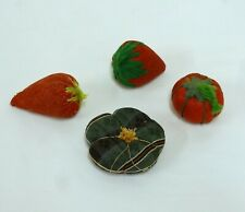 ANTIQUE VINTAGE STRAWBERRY PIN CUSHION EMERY SHAKER STYLE PIN CUSHION LOT of 4