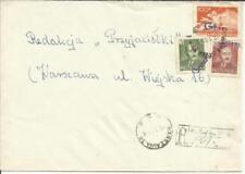 "Poland ""GROSZY-Overprints"" on Sc#C26,#478,#482A WARSAW 2/1/51 Registered"