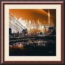 Brooklyn Bridge by Night, by Mereditt.f, Framed, 37x37