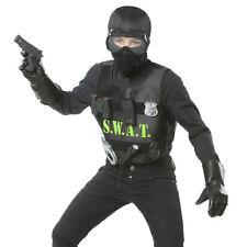 KINDER S.W.A.T. KUGELSICHERE WESTE Karneval Jungen Polizei SEK Kostüm Set 00323