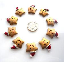 10 CHRISTMAS GOLD STARS GORGEOUS FLATBACK CABOCHONS RESIN - FREE P&P