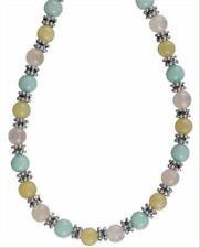 Sterling Silver Genuine Multi Stone, Bali Bead Necklace