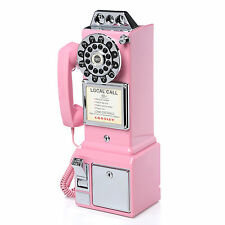 Vintage Pink Pay Phone Classic 50s Retro Coin Telephone Rotary Dial Wall Booth