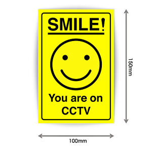 Smile!! You Are On CCTV Plastic Signs Warning Security Sign Stickers A5 V1122