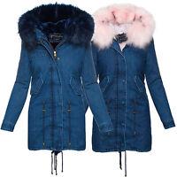 Giacca invernale Donna in Jeans Cappotto da xxl-fell cappuccio s-xl D-220