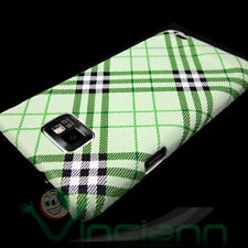 Custodia back cover specifica per Samsung i9100 Galaxy S2 rigida PLAID VERDE SII