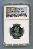 NGC Proof PL 65 South Africa Nelson Mandela R5 Coin 5R With New Mandela Label