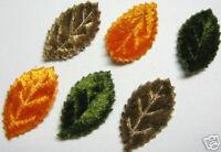 120 MIxed Padded Velvet Leaf 30x15mm Appliques Cardmaking DIY