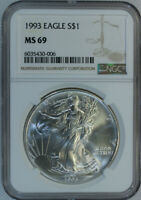 1993 Silver American Eagle Dollar $1 / NGC MS69 🇺🇸 Actual Coin 0006