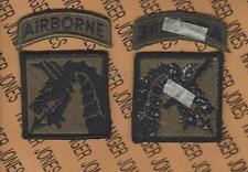 Us Army 18th Airborne Corps Od Green & Black Bdu uniform patch w/tab m/e