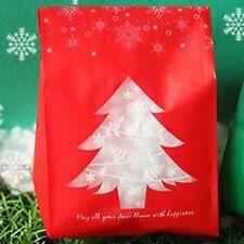 50pcs Rojo/Verde Regalo Navidad Bolsas Caja de Caramelos Copo Nieve Postre