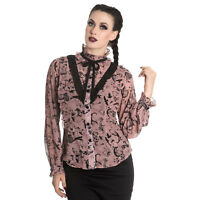 Spin Doctor Sibyl Pink Bat Raven Rose Steampunk Witch Gothic LARP Blouse Top