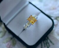 Vintage Jewellery Ring With Citrine White Sapphires Antique Jewelry Size T