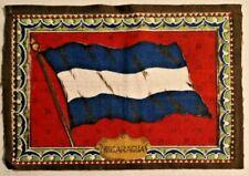 """Antique Cigar Tobacco Felt Flags Doll House Rug Nigaraguay 8.5"""" X 5.5"""""""