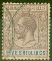 Bahamas 1912 5s Dull Purple & Blue SG88 Ave Used