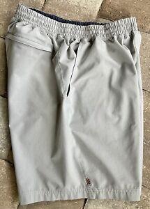 """Rhone Men's Medium M Athletic Shorts Unlined Light Gray 8"""" Inseam Zip Pocket"""