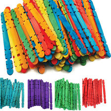 100 Standard Colored Sticks Size Wood Popsicle Stick Hand Hobby Crafts Tools