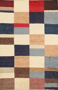 Checked Gabbeh Kashkoli Oriental Area Rug Wool Handmade Contemporary Carpet 5x7