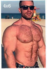 Hairy Chest Male @ the Beach HUGE Muscles Biceps Beefcake Gay Int. 4x6 Photo