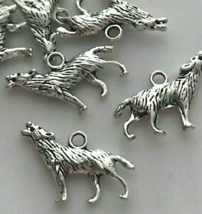 5 or 10 Tibetan silver howling wolf charms 25mm x 18mm C49