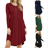 Womens Long Sleeve Tunic Dress A Line Casual Evening Party Solid Loose Dress New