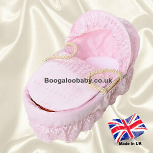 Isabella Alicia Pink Broderie Anglaise Replacement Moses Basket Dressing Covers