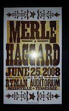 MERLE HAGGARD Ryman 2008 HATCH SHOW PRINT Nashville Tour Poster Hag Rare