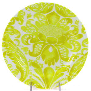 "Anthropologie YELLOW DAMASK 8"" Dessert Plate Floral Flower"