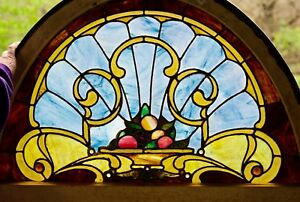 CINCINNATI MANSION 3' WIDE BY 2' TALL STAINED GLASS WINDOW w/JEWELS Circa 1892