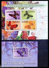 Butterflies of Caribbean, St.Vincent 2007 MNH 2 SS Set