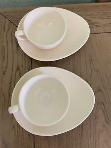 Nigella Lawson Living Cappuccino Large Coffee Cup And Saucer x 2 Cream Teardrop