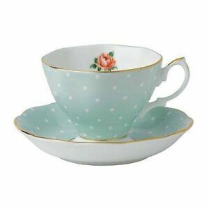 Royal Albert Polka Rose Formal Vintage Teacup and Saucer Boxed Set NEW