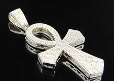 Mens White Finish Sterling Silver Cone Edge Ankh Cross Lab Diamond Pendant